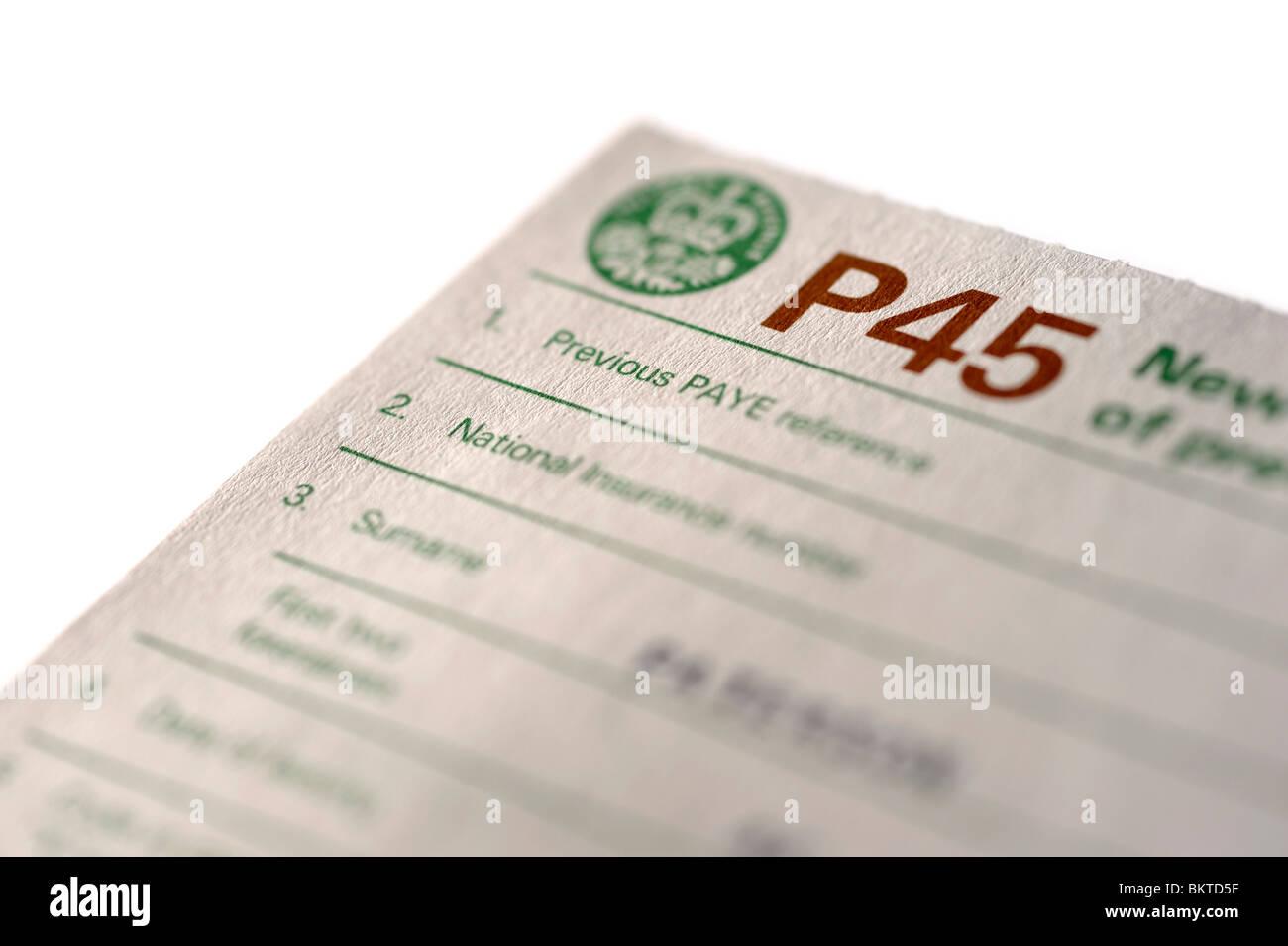Certificat de P45 Photo Stock