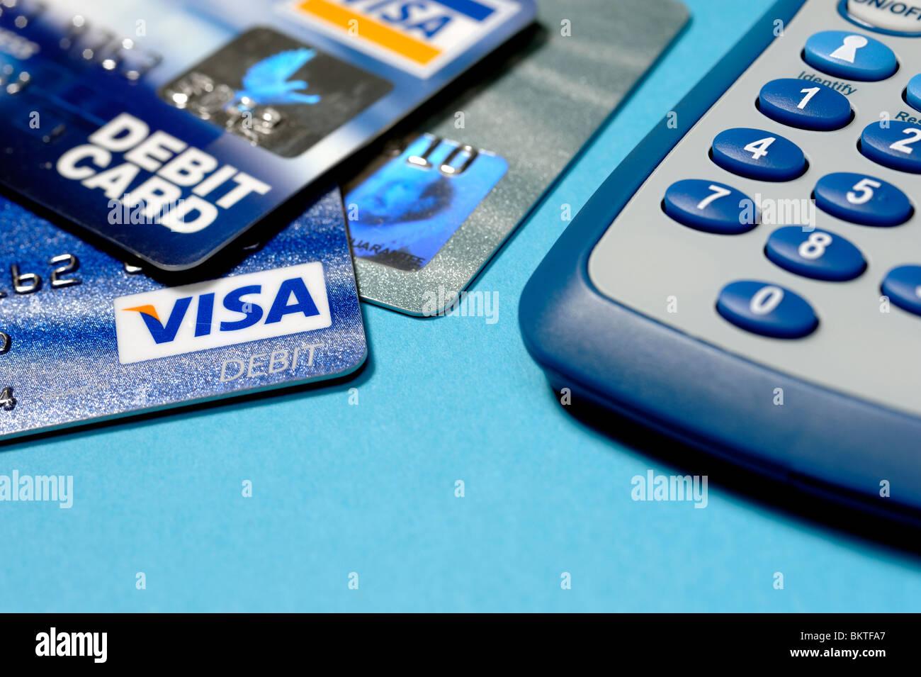 Cartes de crédit et calculatrice Photo Stock