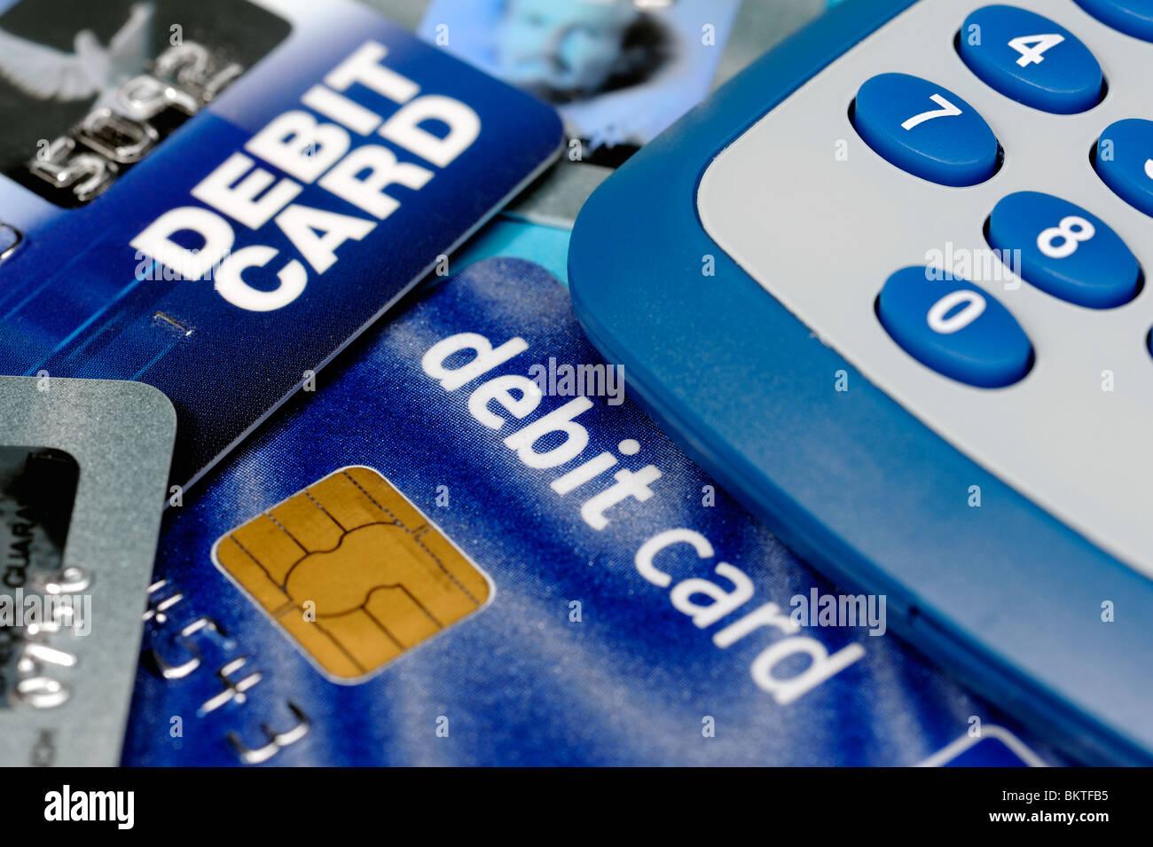 Les cartes de débit et calculatrice Photo Stock