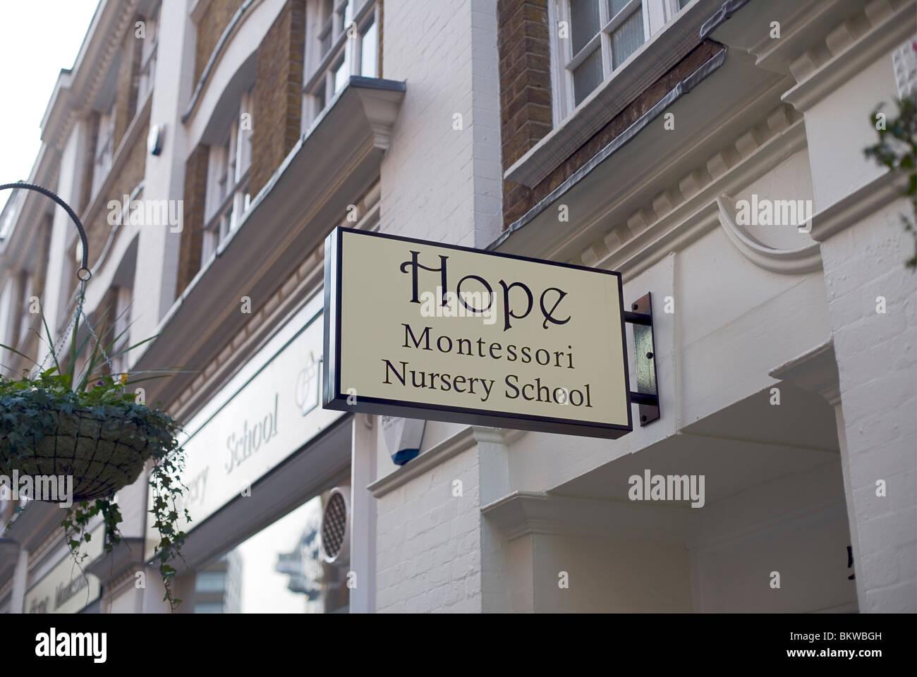 Espérons que l'École Maternelle Montessori, Marylebone Lane, Londres, Royaume-Uni, Europe Banque D'Images