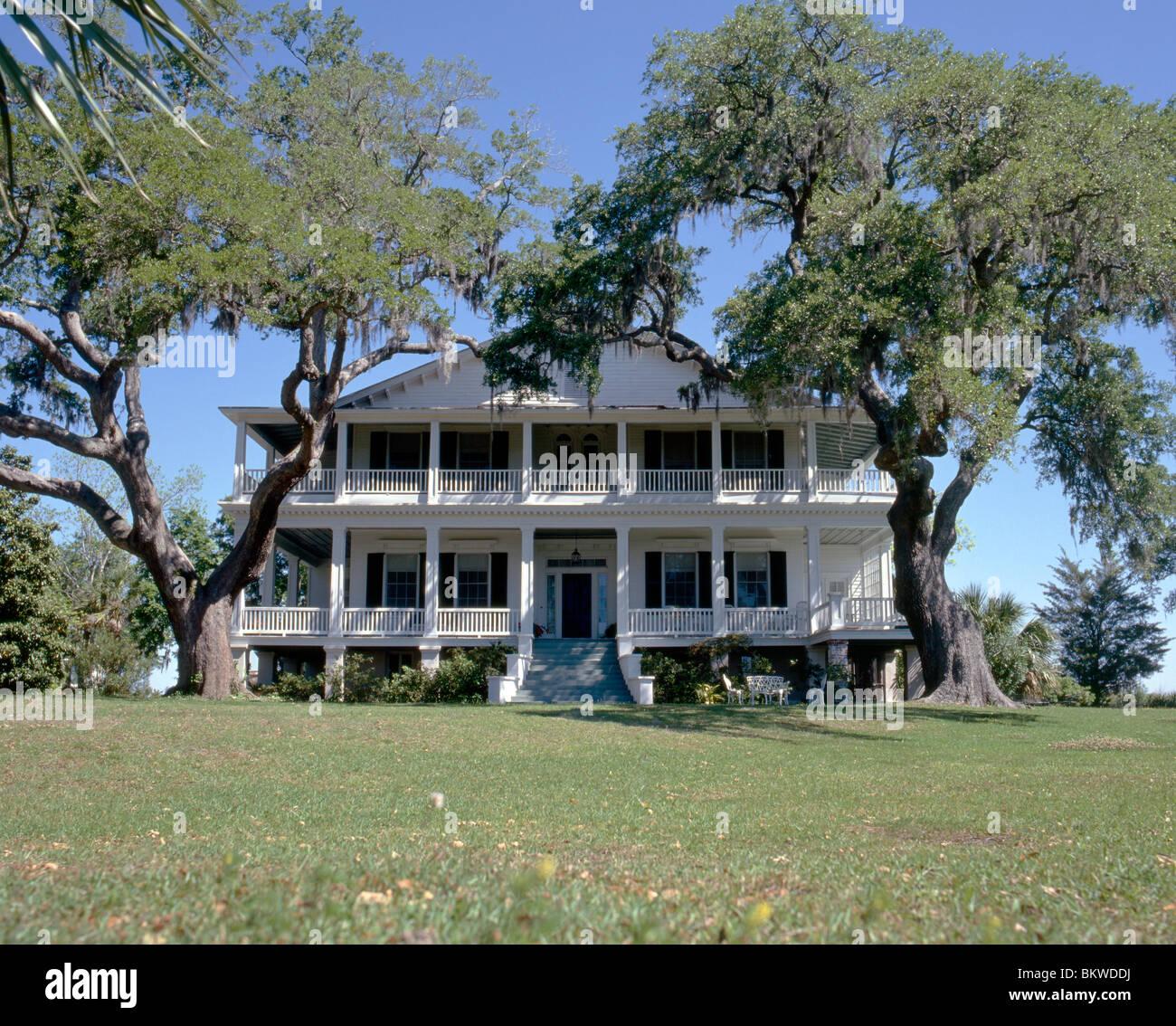 Vue extérieure de la maison, Edgar Fripp 'Tidalhom' c1856, Beaufort, Caroline du Sud, USA Photo Stock