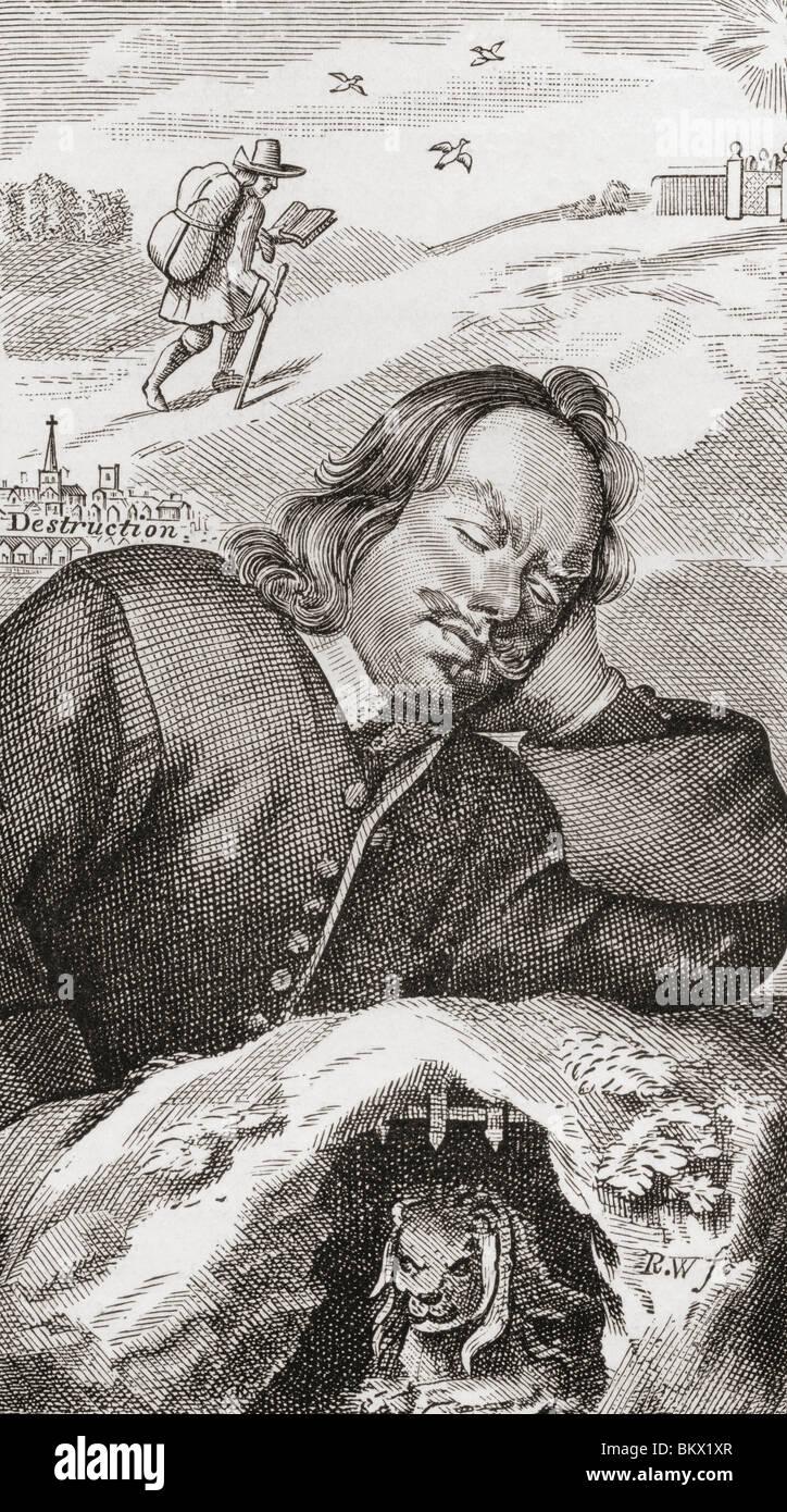 Le rêve de Bunyan. Frontispice du progrès de Pilgrim, 1680. John Bunyan, 1628 - 1688. Écrivain et prédicateur chrétien. Banque D'Images