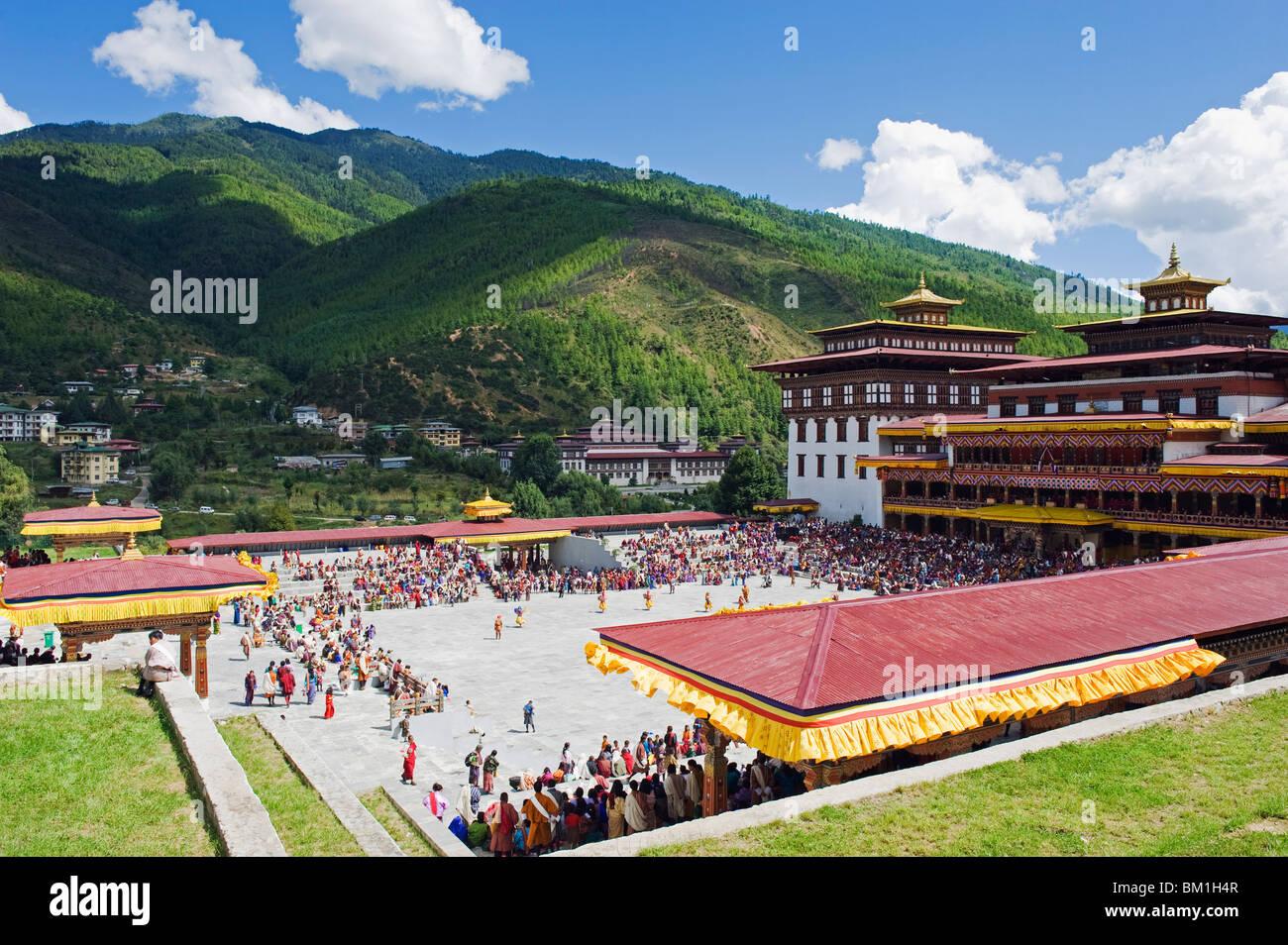 Automne Tsechu (festival) à Trashi Chhoe Dzong, Thimphu, Bhoutan, Asie Photo Stock