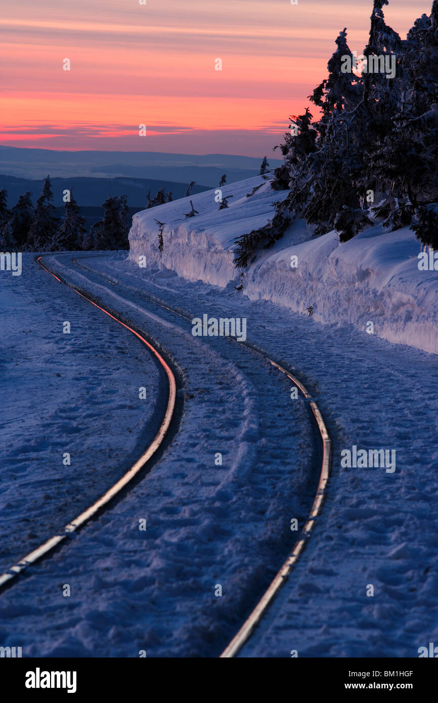 Rails dans winter scenery Photo Stock