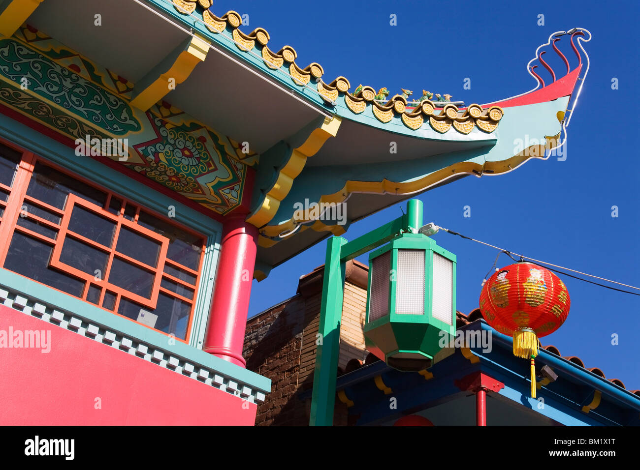 L'architecture chinoise, Chinatown, Los Angeles, Californie, États-Unis d'Amérique, Amérique Photo Stock