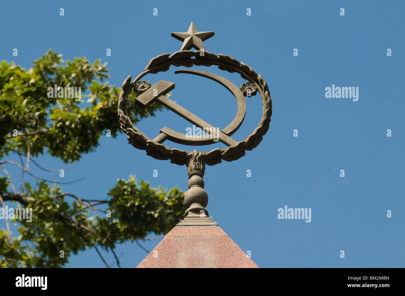 La faucille et du marteau comme signe de communisme, Bichkek, Kirghizistan Photo Stock