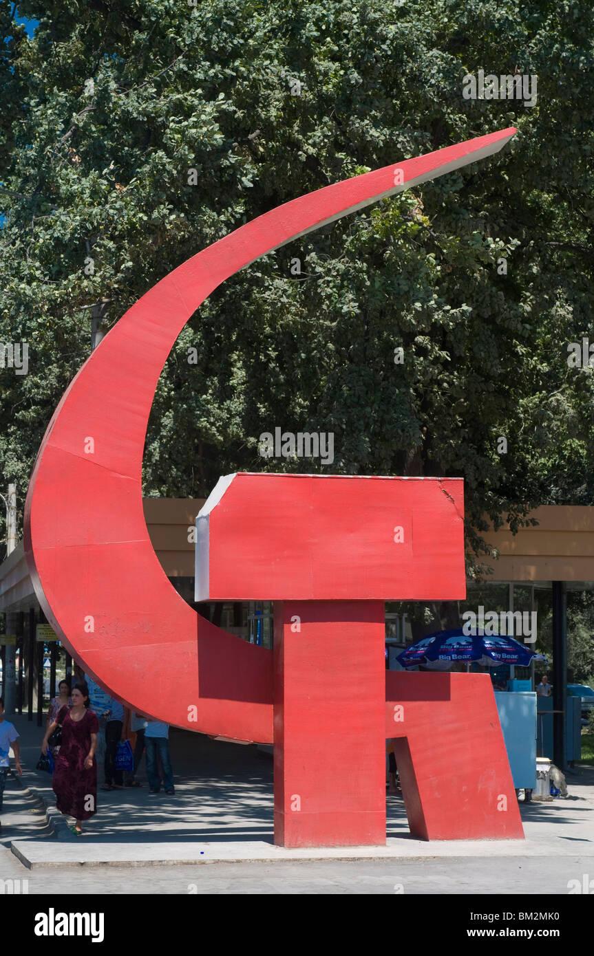 La faucille et du marteau comme signe de communisme, Khojand, Tadjikistan Photo Stock