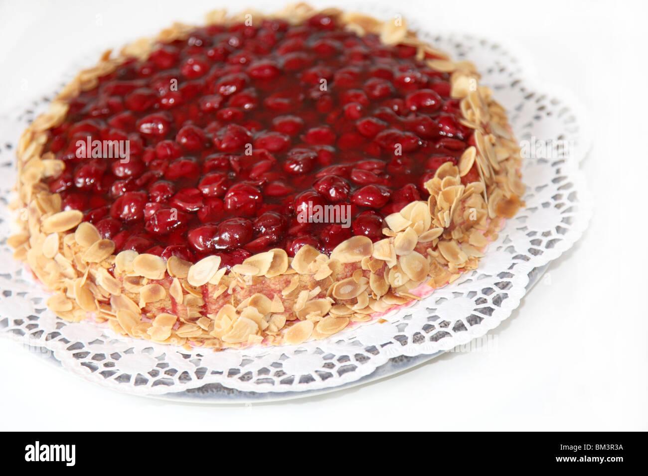 Un gâteau aux amandes avec edge - close-up Photo Stock