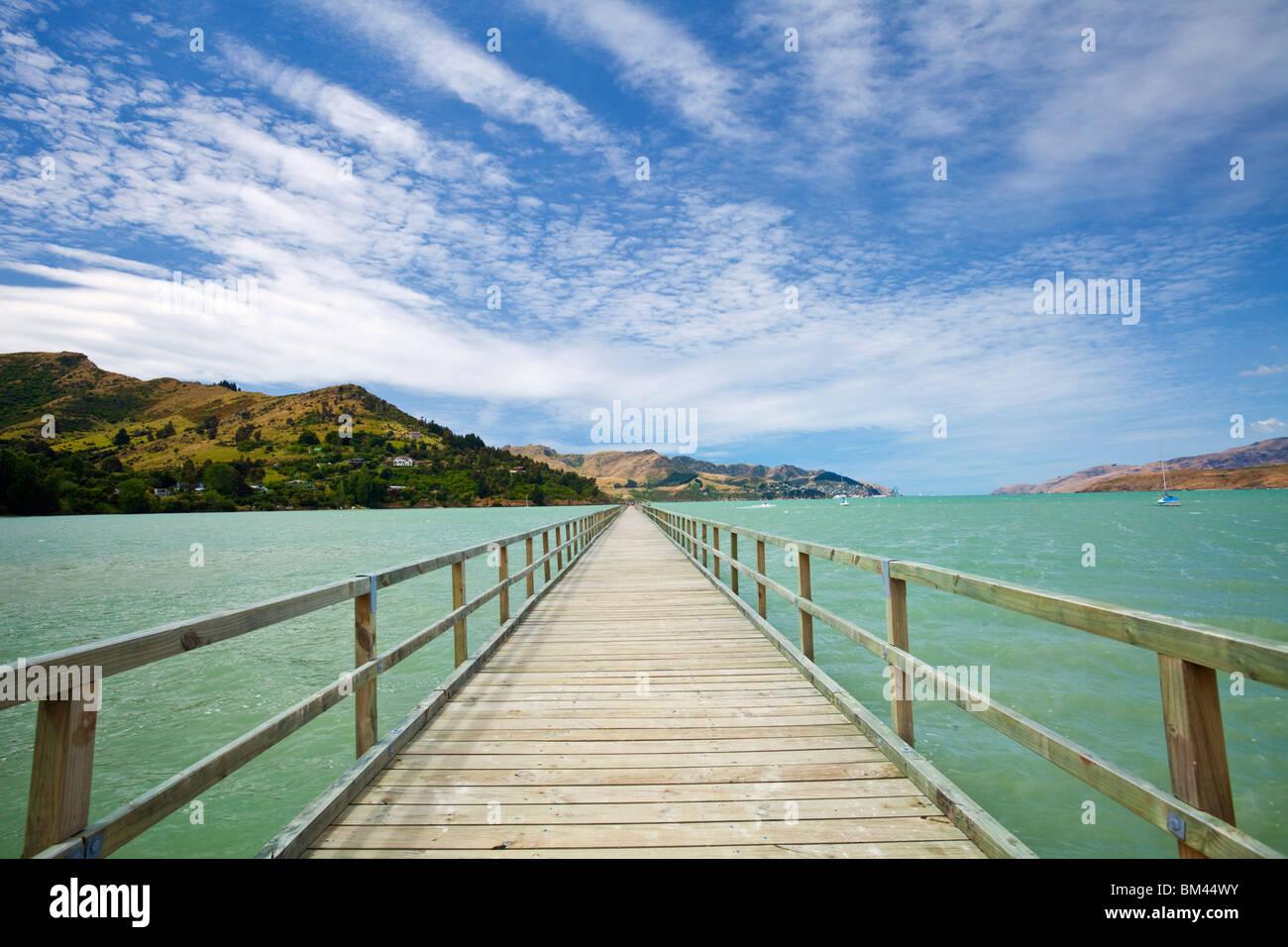 Jetée de Governor's Bay. Christchurch, Canterbury, île du Sud, Nouvelle-Zélande Photo Stock