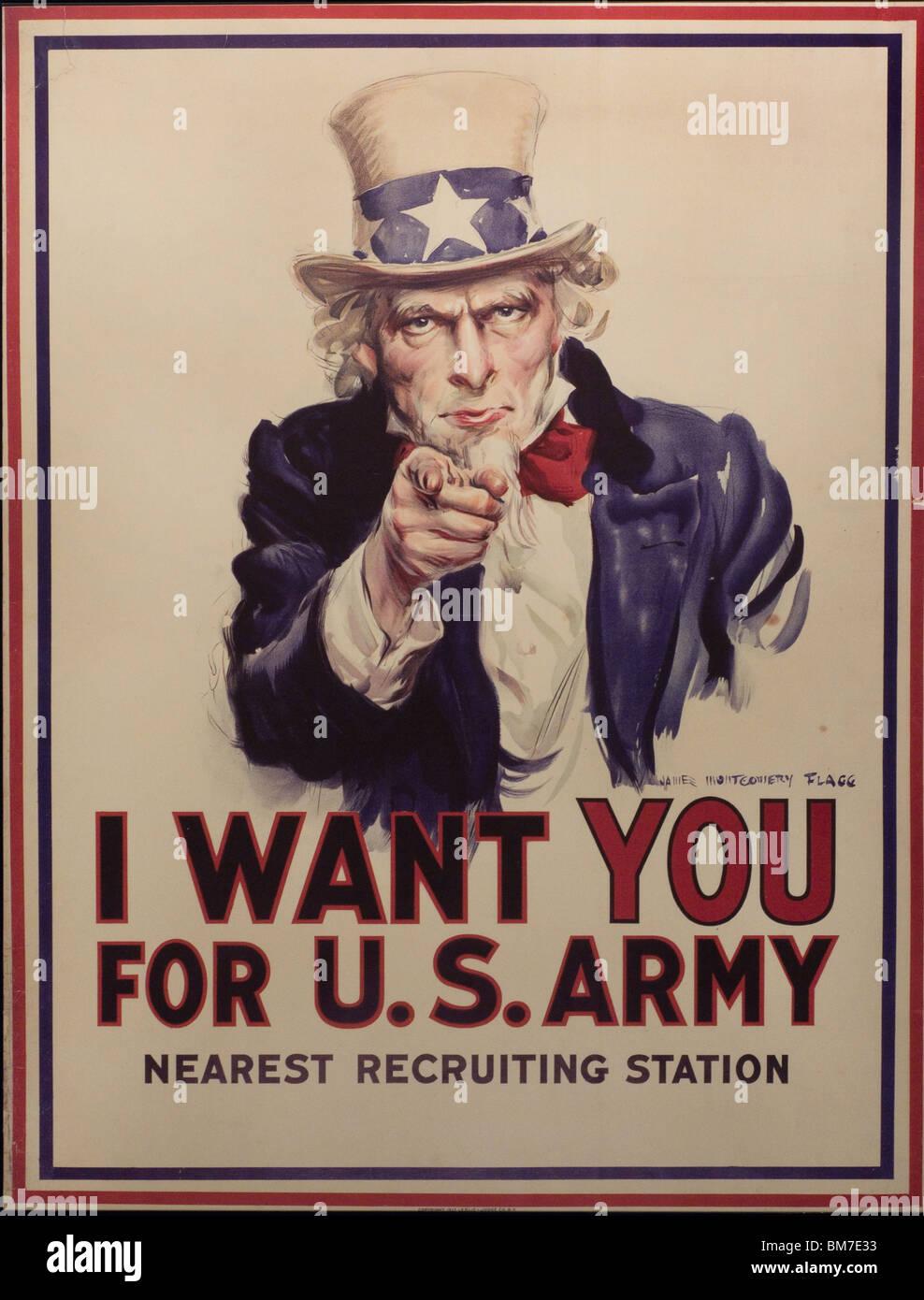 Je veux que vous pour l'armée américaine ' Affiche de l'Oncle Sam de propagande - propaganda Photo Stock