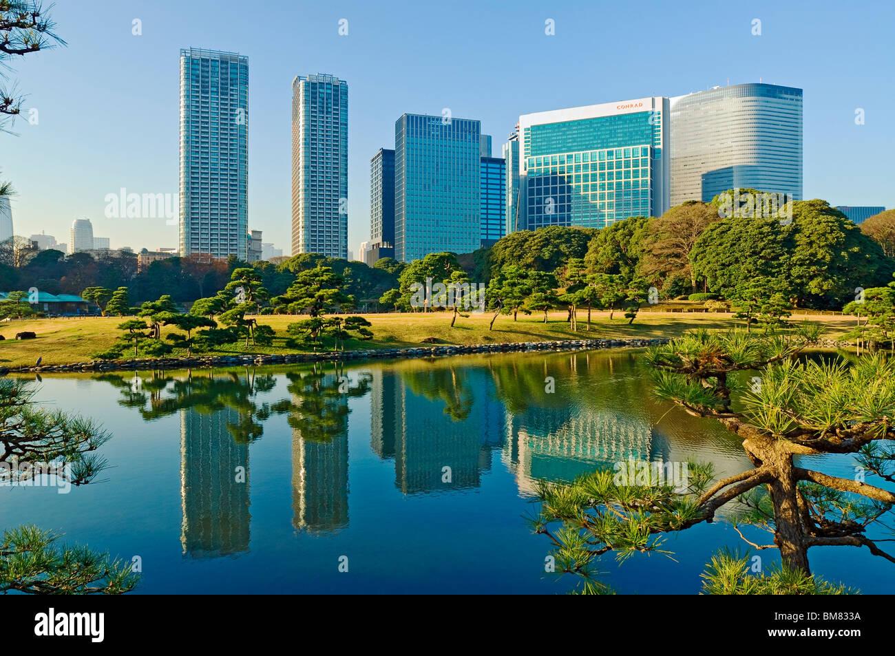 Hama Rikyu Gardens Garden Shiodome Skyline Japon Photo Stock