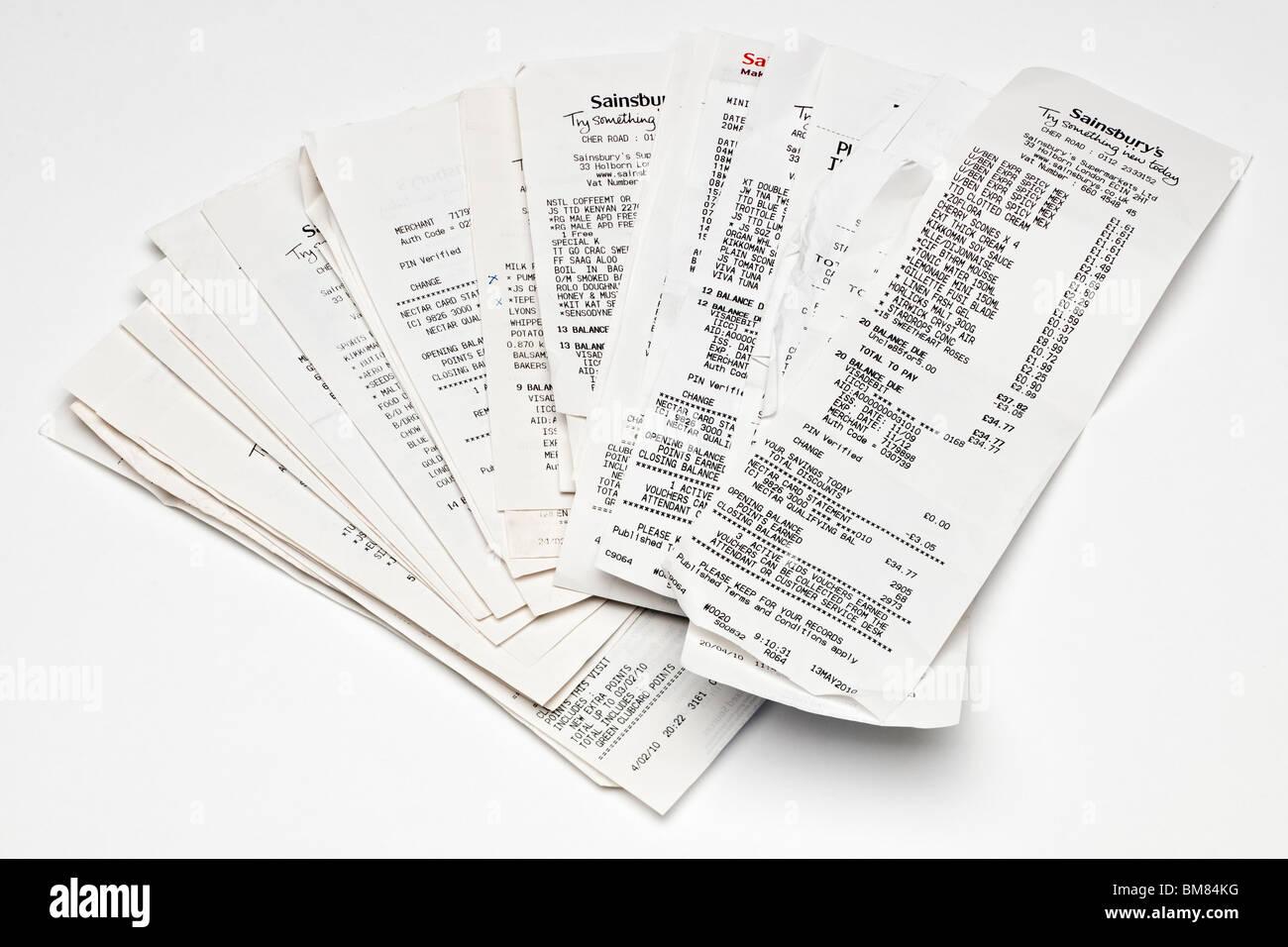 Pile de tickets de caisse de supermarché Photo Stock