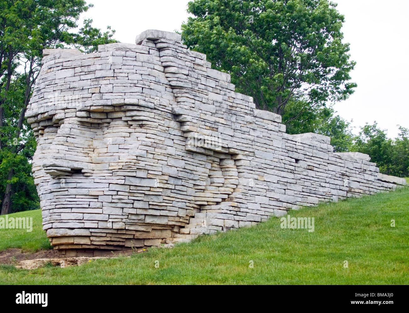 Chef d Leatherlips statue dans un parc à Dublin dans l'Ohio Photo Stock