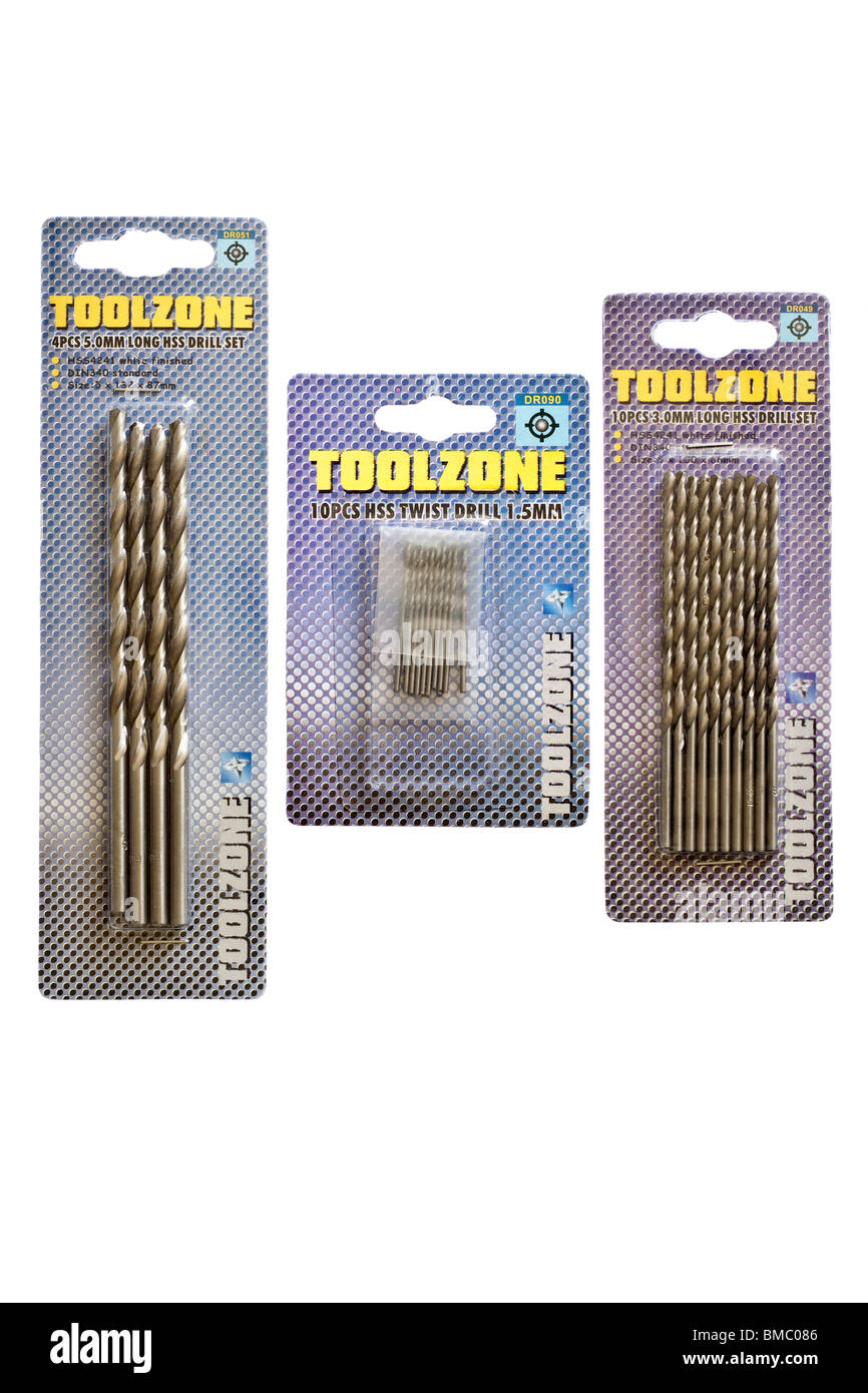 Trois paquets de Toolzone twist drill bits Photo Stock