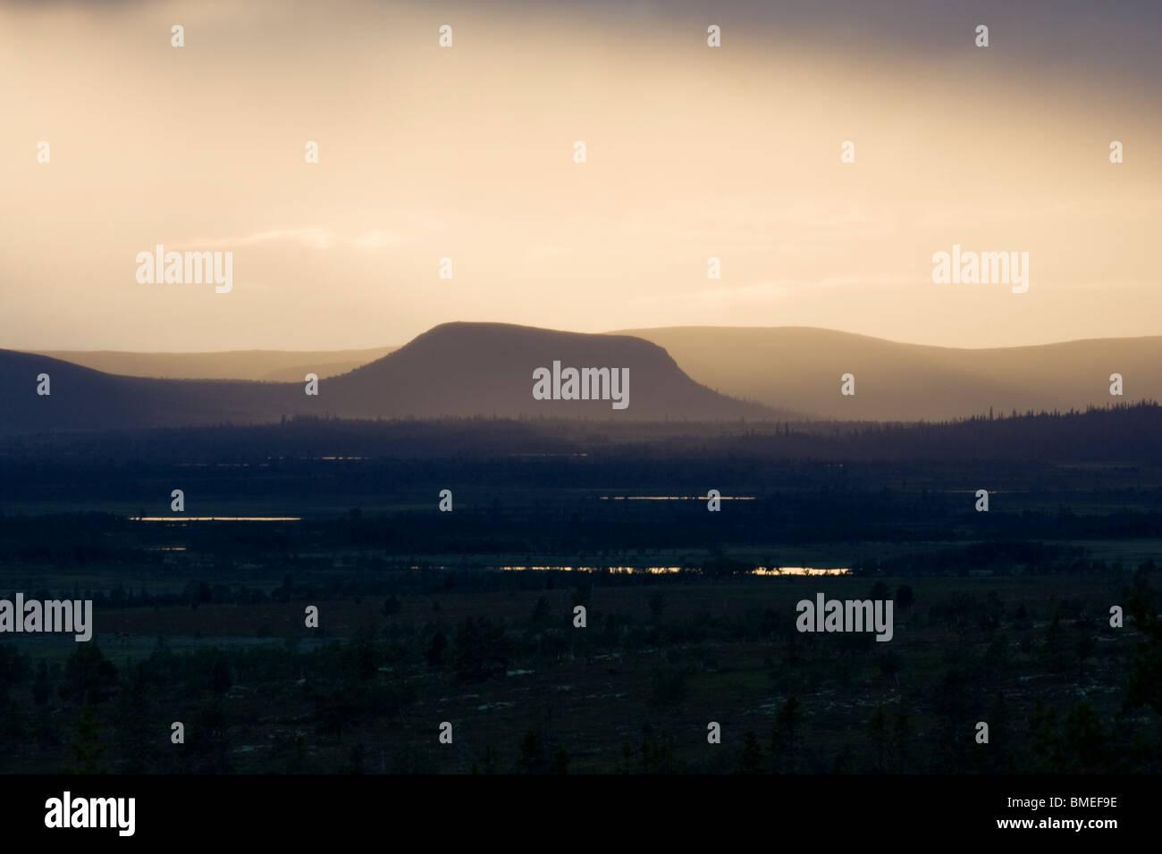 La Scandinavie, la Suède, Harjedalen, vue sur la montagne scandinaves Photo Stock