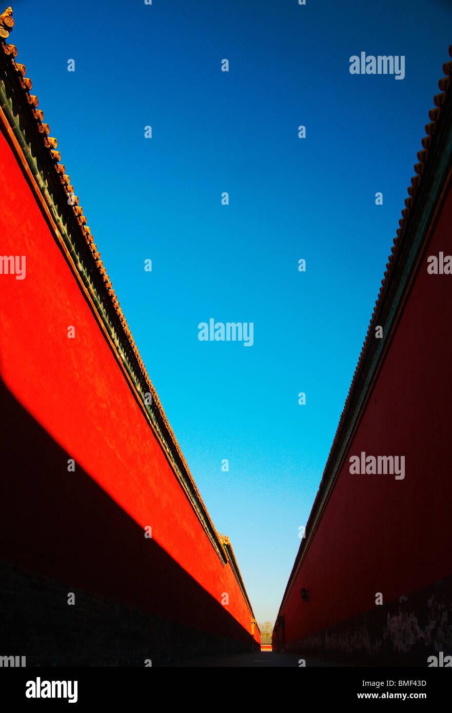Palais rouge mur de la Cité Interdite, Pékin, Chine Banque D'Images