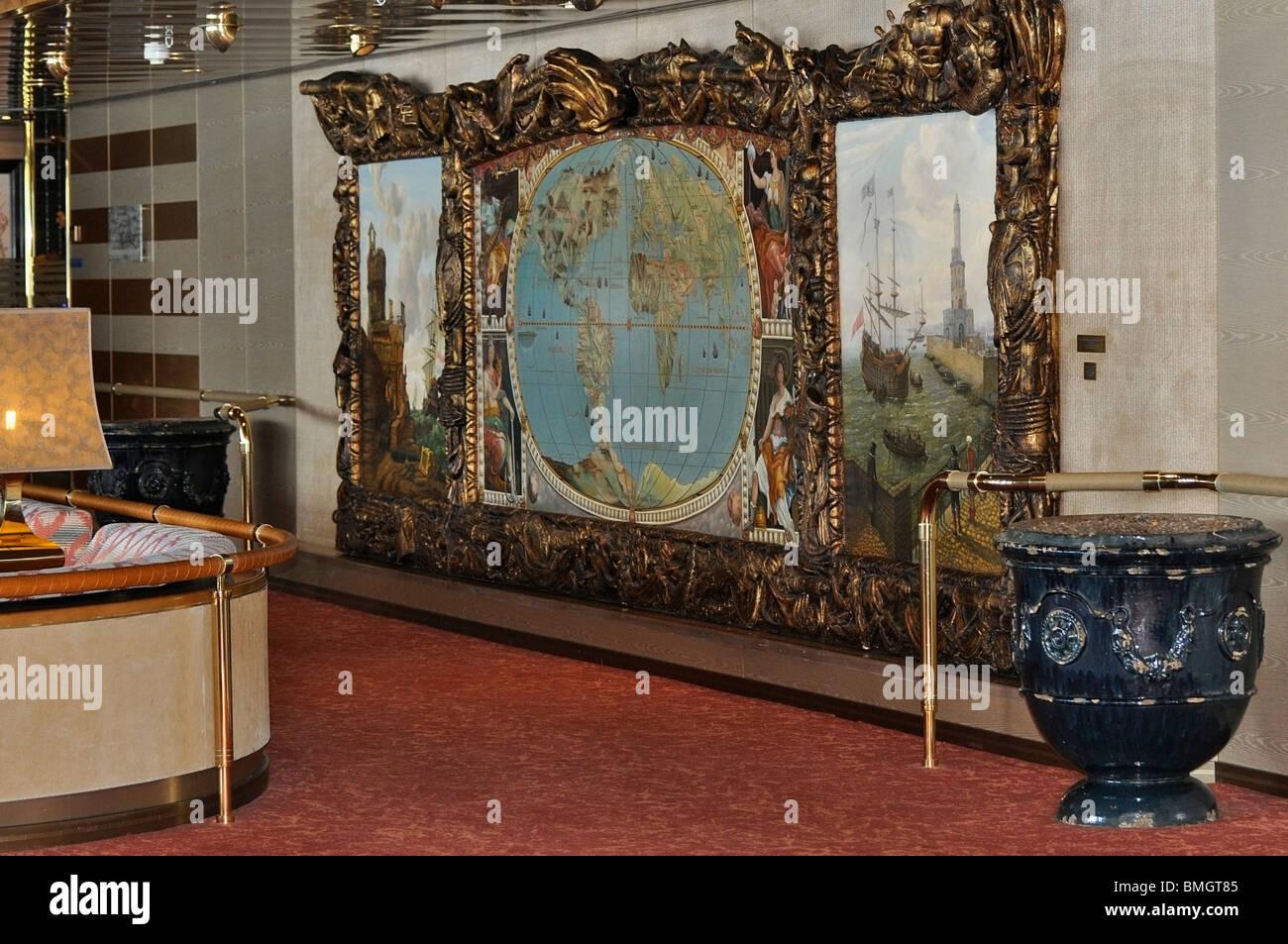 Explorer's Lounge, sur le navire d'Holland America Line, l'Edam. Photo Stock
