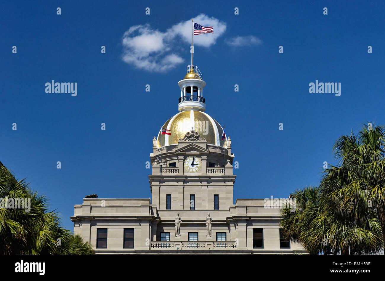 Dôme d'or de l'Hôtel de ville de Savannah à Savannah, Géorgie Photo Stock