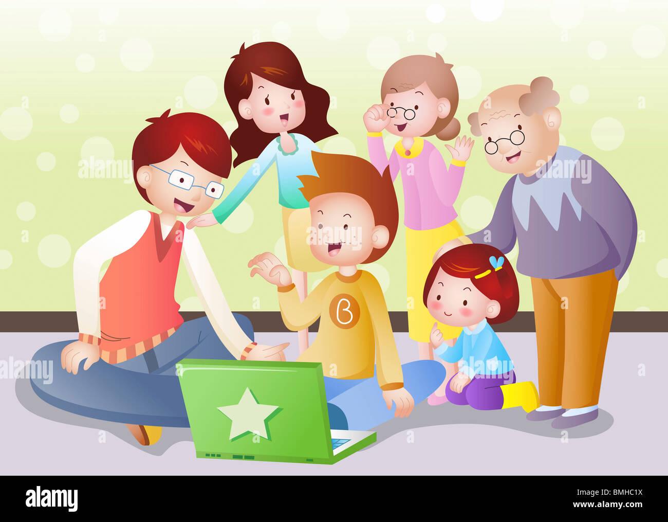 La famille bonheur Banque D'Images