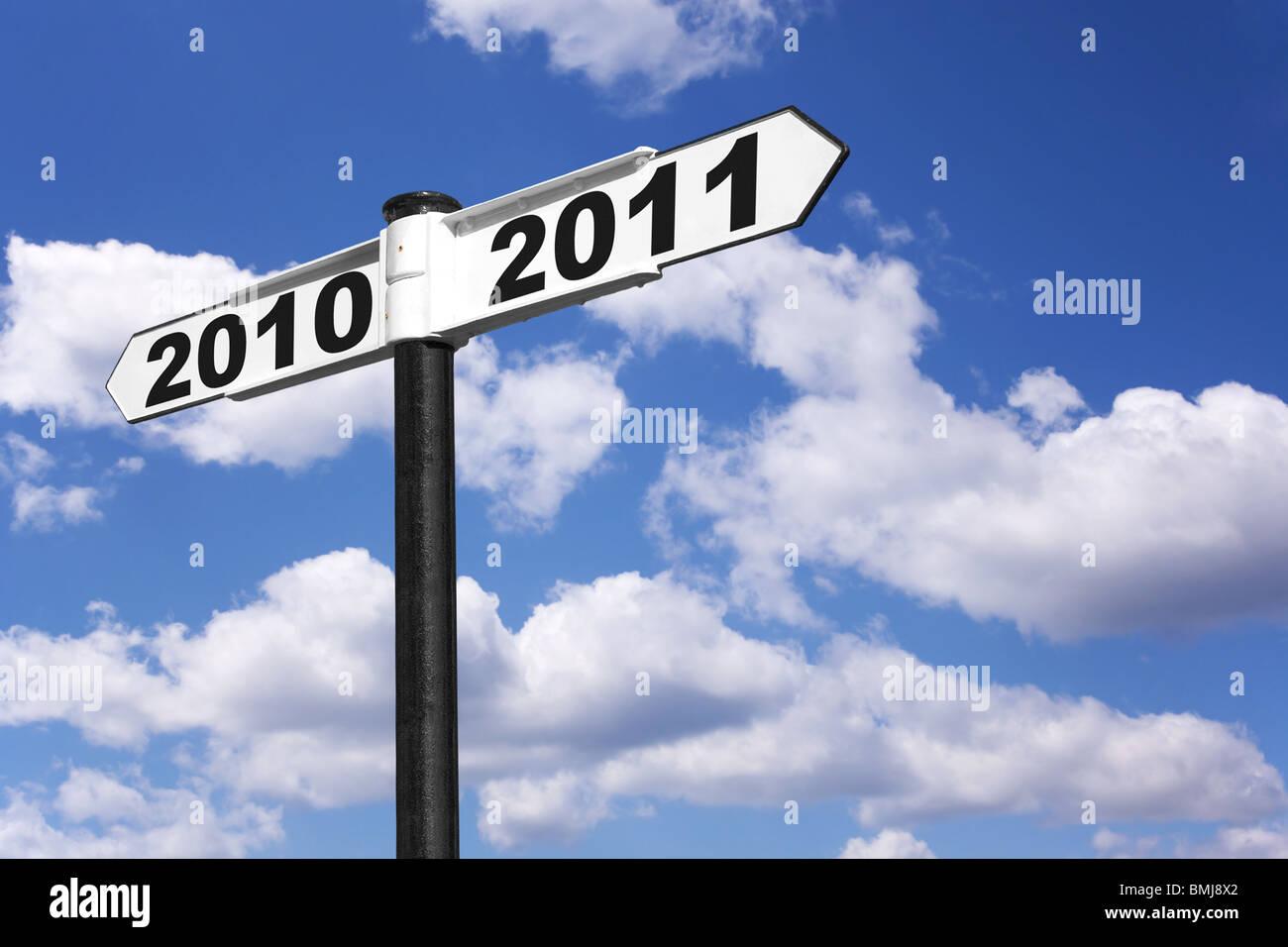 Panneau de l'an pour les années 2010 et 2011 Photo Stock