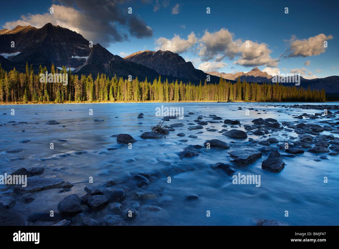 La rivière Athabasca avec Fryatt Mt et Mt Edith Cavell, Parc National de Jasper, Alberta, Canada Photo Stock