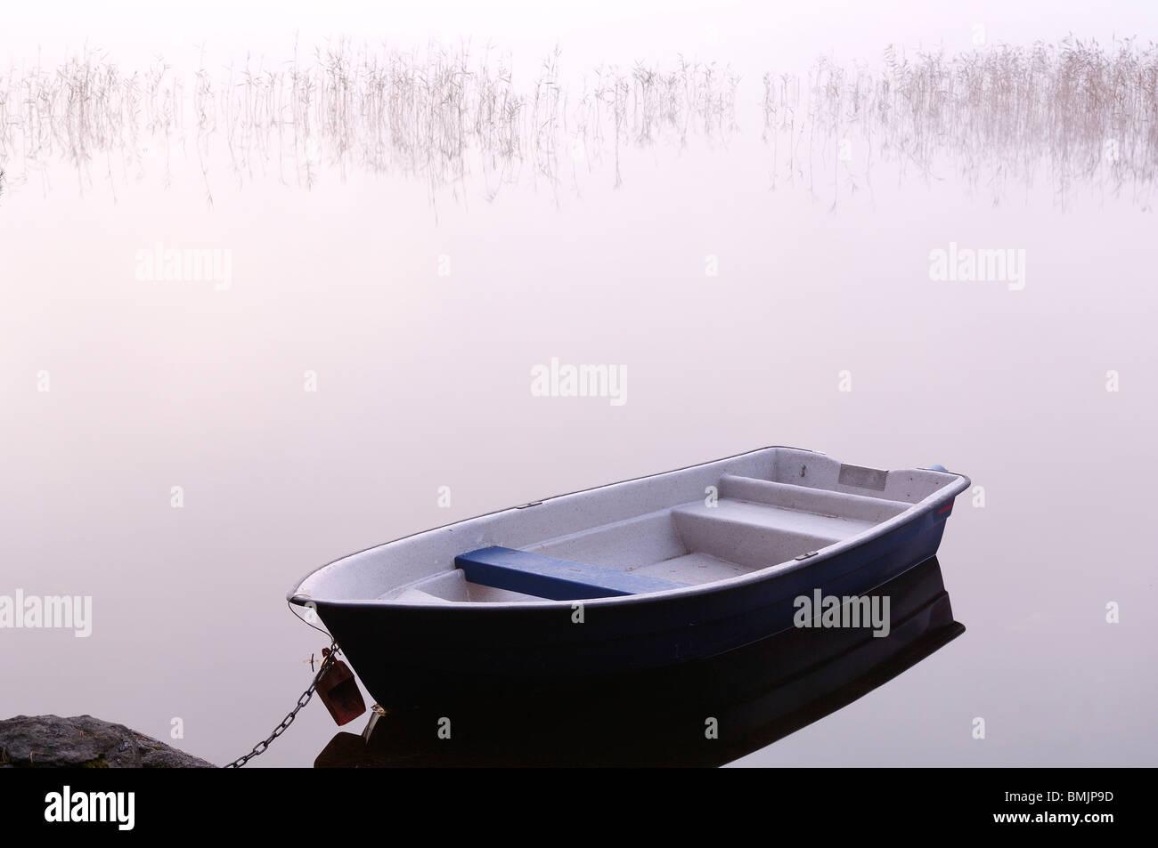 La Scandinavie, la Suède, Vastergotland, Molnlycke, vue du bateau sur le lac Misty Photo Stock