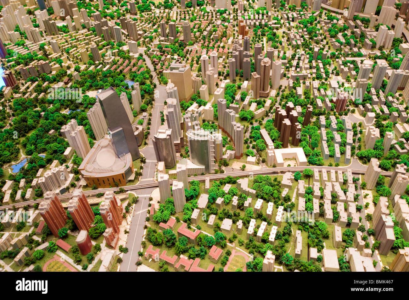 Modèle à l'échelle de la ville dans le musée de la planification urbaine de Shanghai, Shanghai, Photo Stock