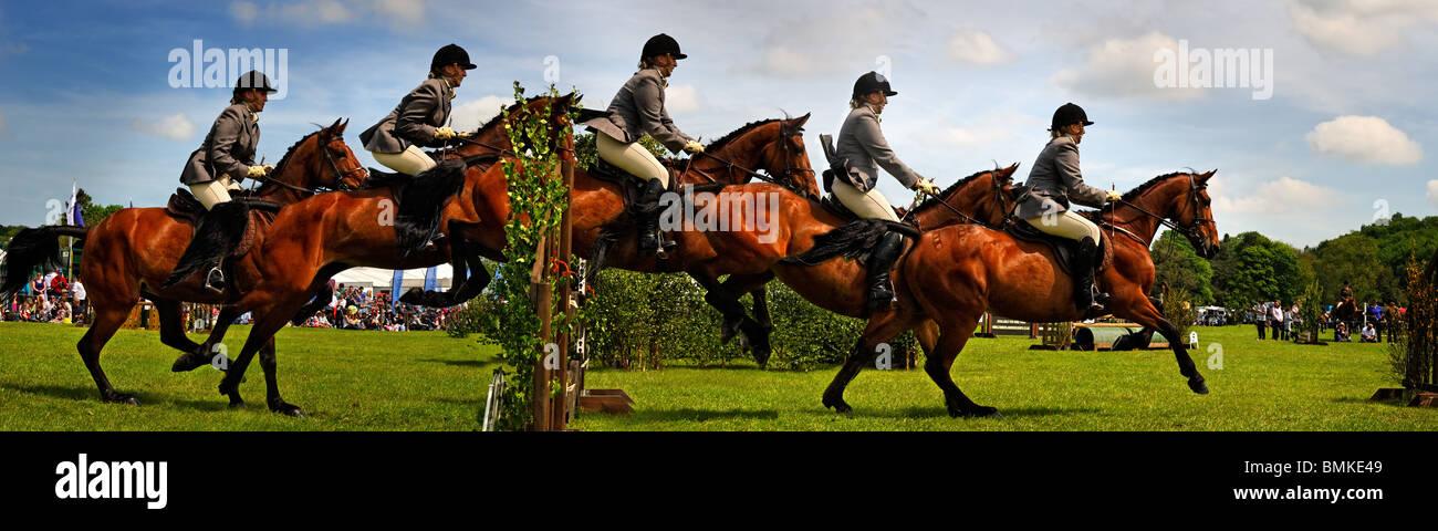 Une exposition multiple d'un saut à cheval. Photo Stock