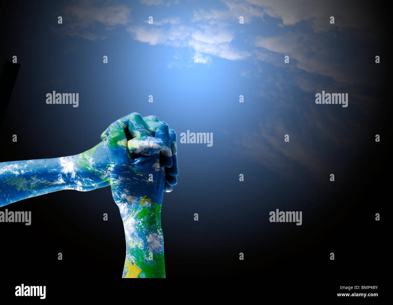 Position des mains sur la prière a fusionné avec une image satelital de la planète en tant que symbole Photo Stock
