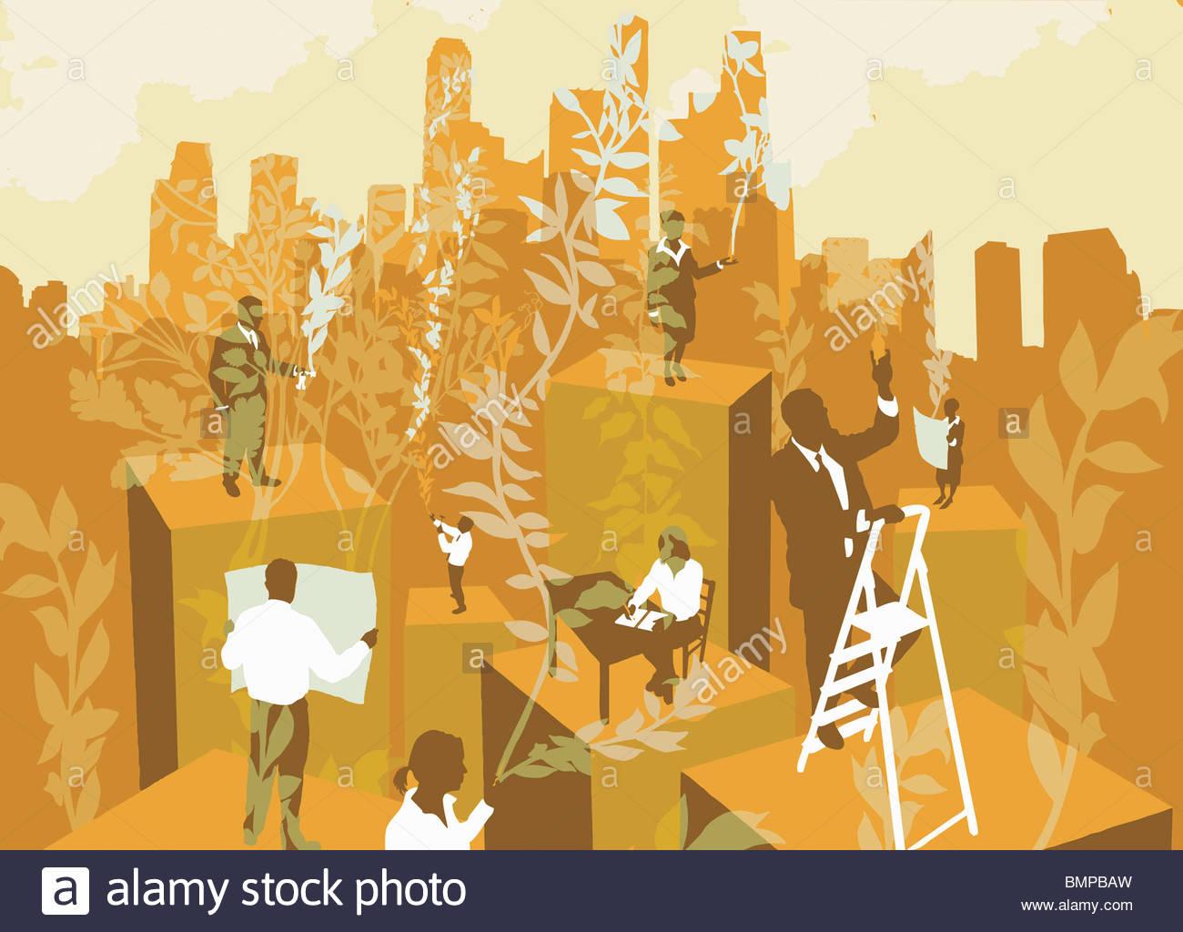 Les gens d'affaires sur des colonnes avec ville en arrière-plan Photo Stock