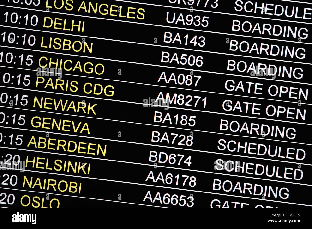 Carte de vol à l'aéroport d'Heathrow Royaume-uni Photo Stock
