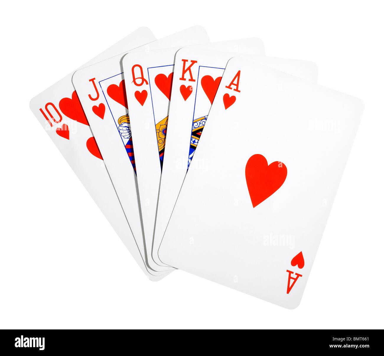 Main ouverte des cartes montrant Royal Flush au poker Photo Stock