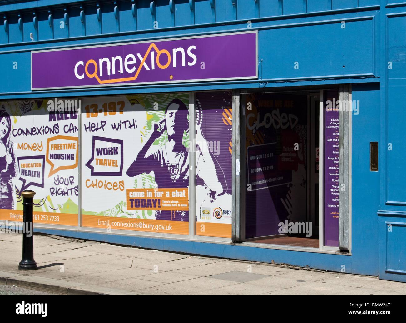 (Connexions) de services de soutien aux jeunes, du centre-ville, Bury, Greater Manchester, UK Photo Stock
