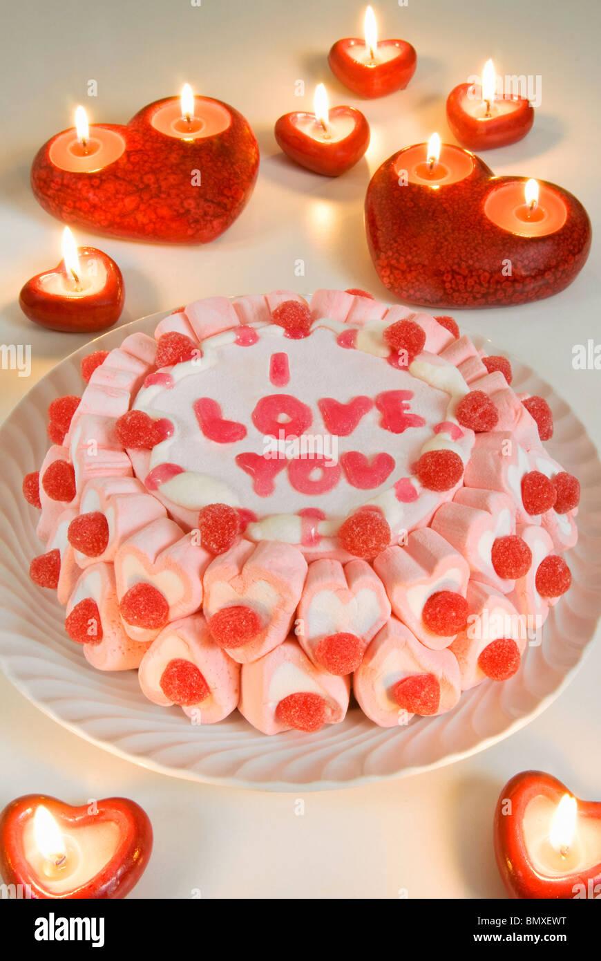 Gâteau, je vous aime, Photo Stock