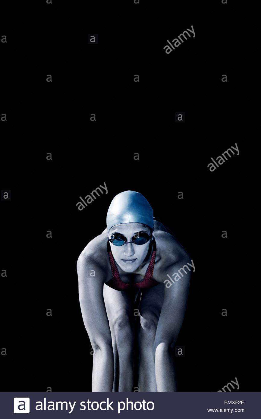 Nageur en position initiale Photo Stock