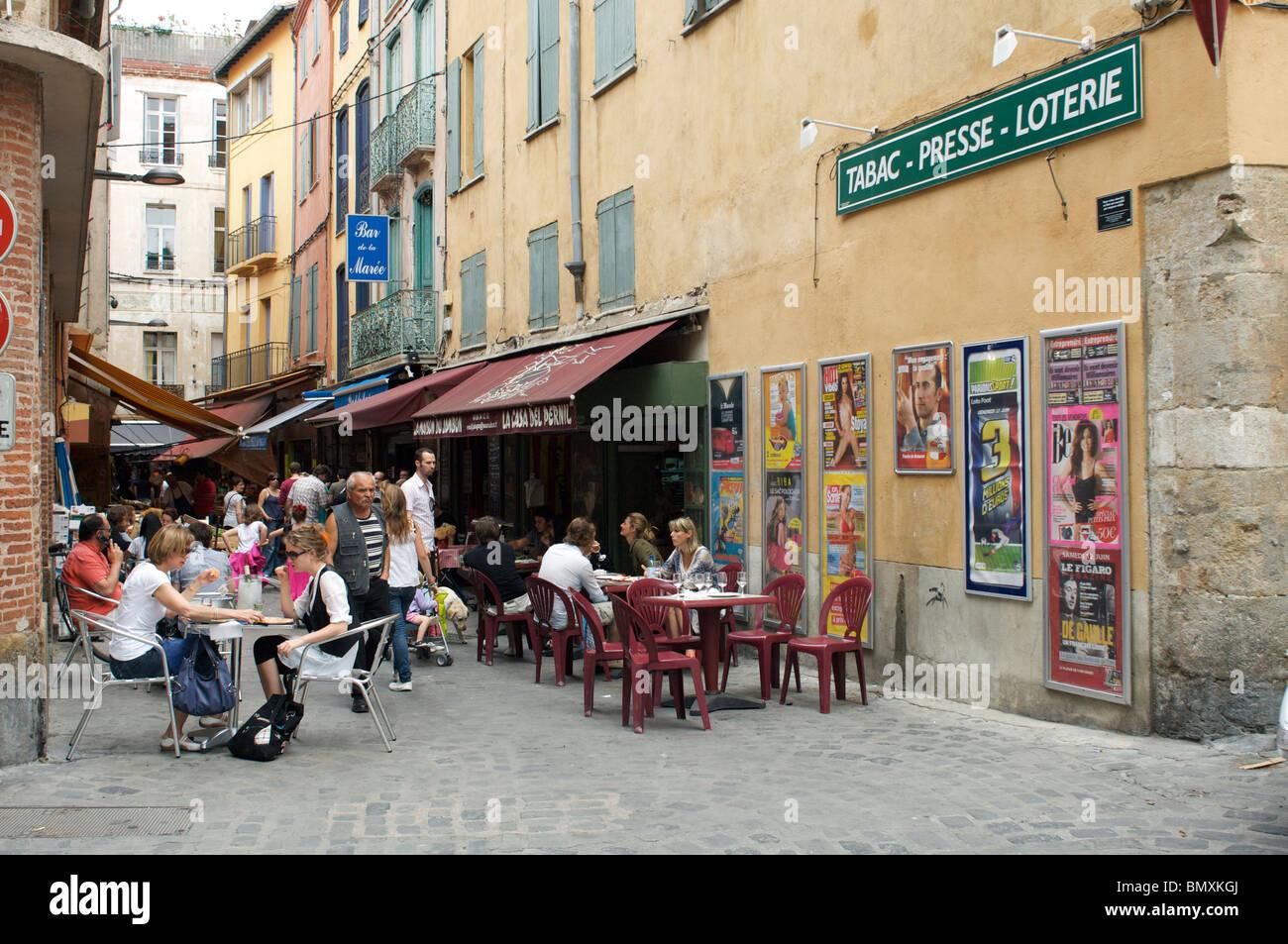 Scène de rue à perpignan Photo Stock