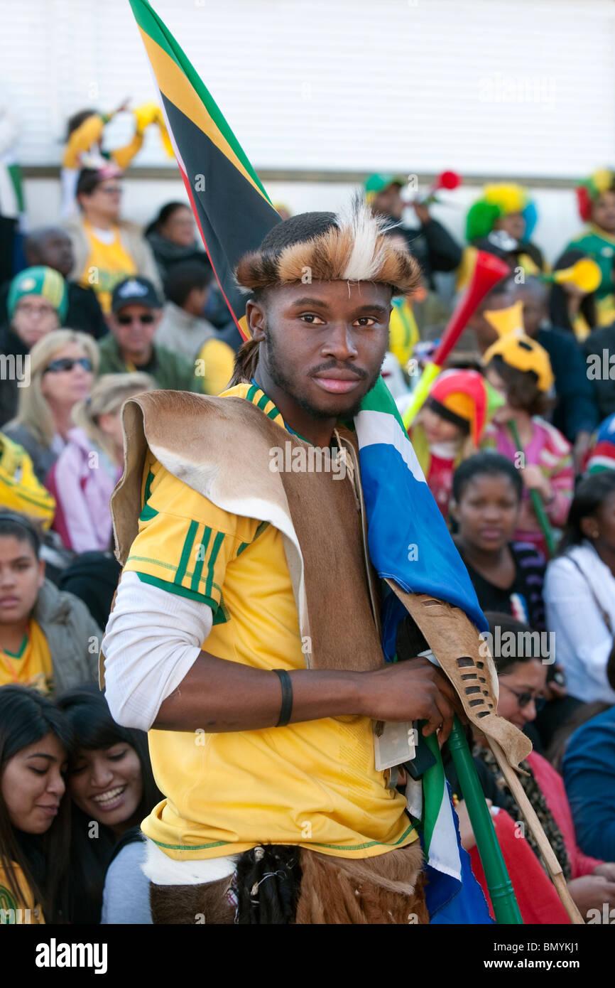 Habillé en supporter à worrior public viewing Coupe du Monde de Football 2010 en Afrique du Sud, Cape Photo Stock