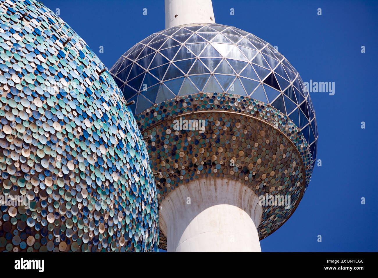 Kuwait Towers, établissement emblématique, l'État du Koweït, au Moyen-Orient Photo Stock