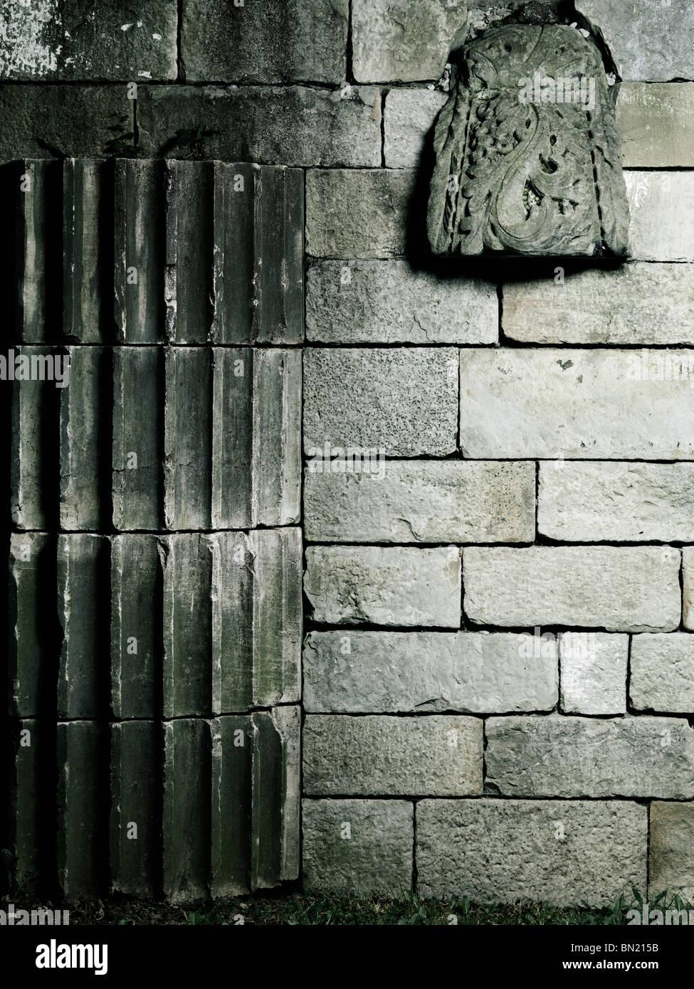 Vieux Mur de pierre avec des détails architecturaux d'arrière-plan artistique Banque D'Images