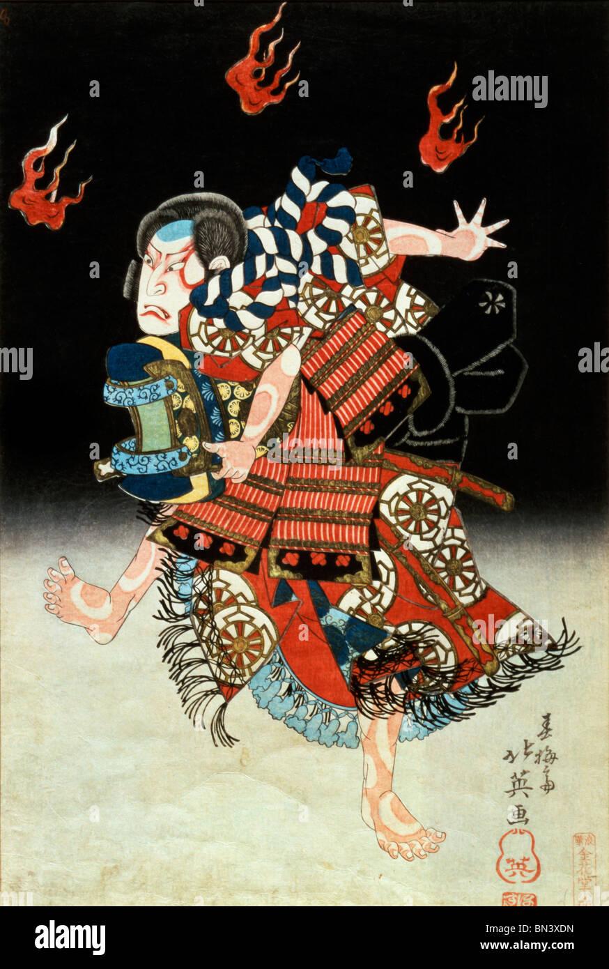 Nakamura Shikan II comme Tadanobu, par Shunbaisai Hokuei. Japon, 1835 Banque D'Images