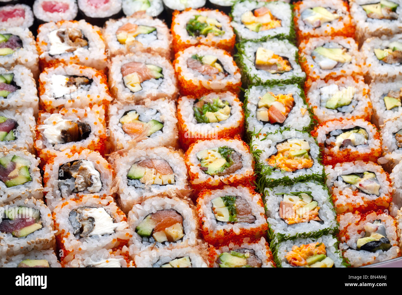 Sushi et rouleaux Photo Stock