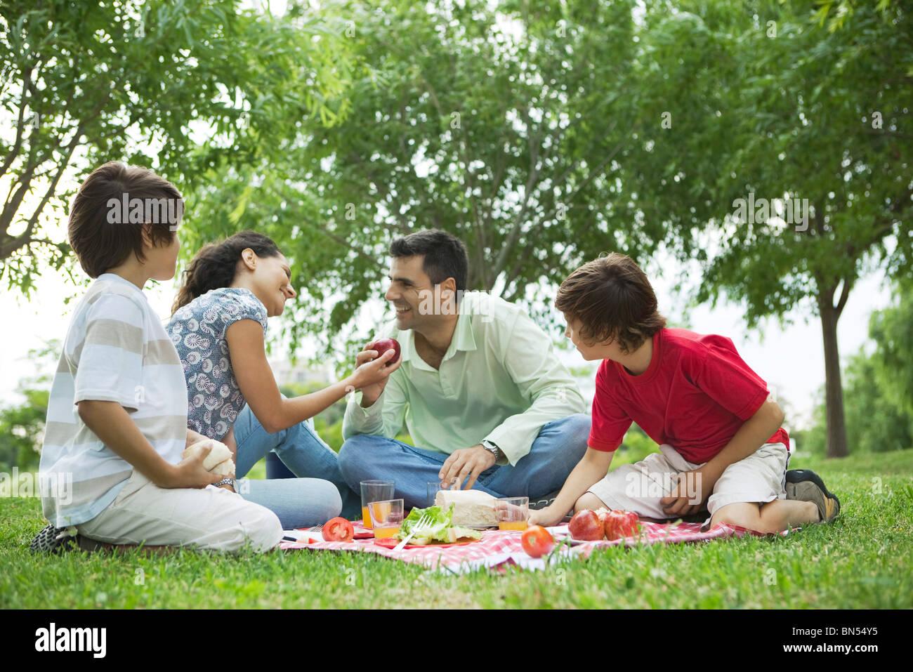Pique-nique en famille en plein air Banque D'Images