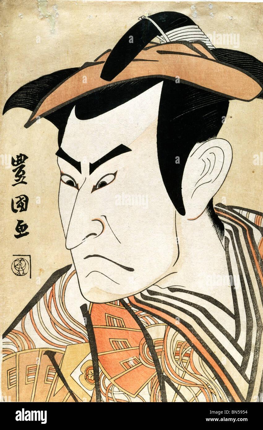 Onoe Matsusuke Kudo Suketsune, J'ai comme par Utagawa Toyokuni. Japon, 1800 Photo Stock