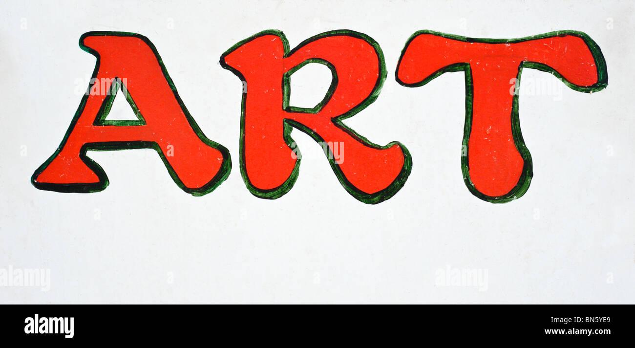 Une indication d'art à proximité, peint en lettres rouges sur fond blanc, bois de Tularosa, Nouveau Photo Stock