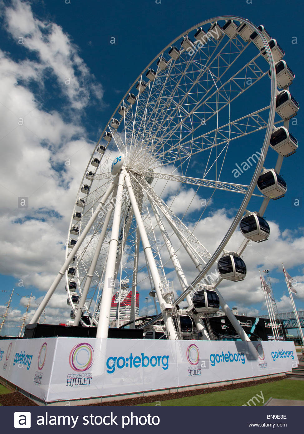 Avis de nouvelle attraction touristique de roue de Göteborg à Stockholm en Suède Photo Stock