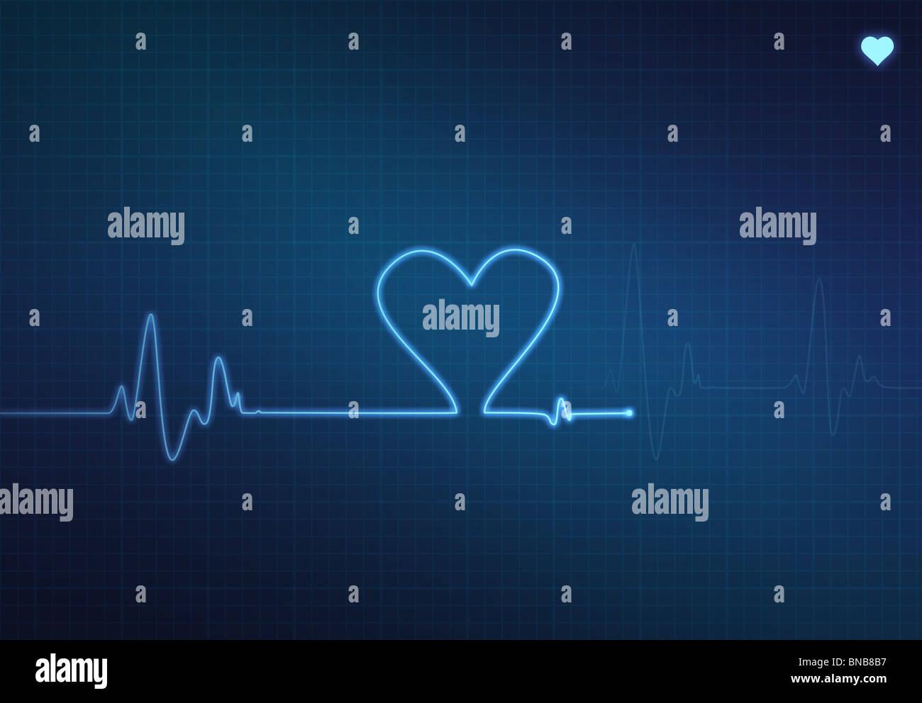 Heart-shaped écho sur un moniteur cardiaque médical (électrocardiogramme) avec fond bleu et le symbole Photo Stock