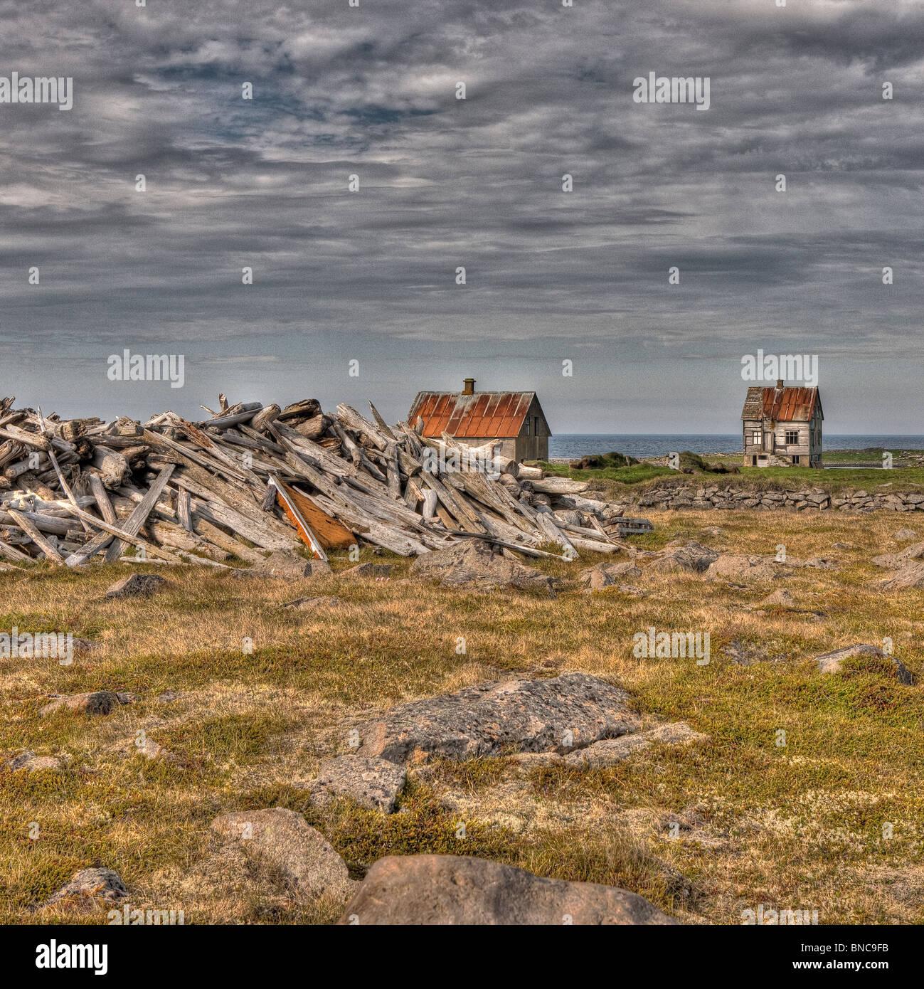 Abandonner farm house, dans le Nord de l'Islande Photo Stock