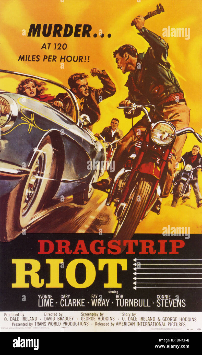 Dragster RIOT aka la téméraire Age - affiche pour 1958 film Transworld Photo Stock