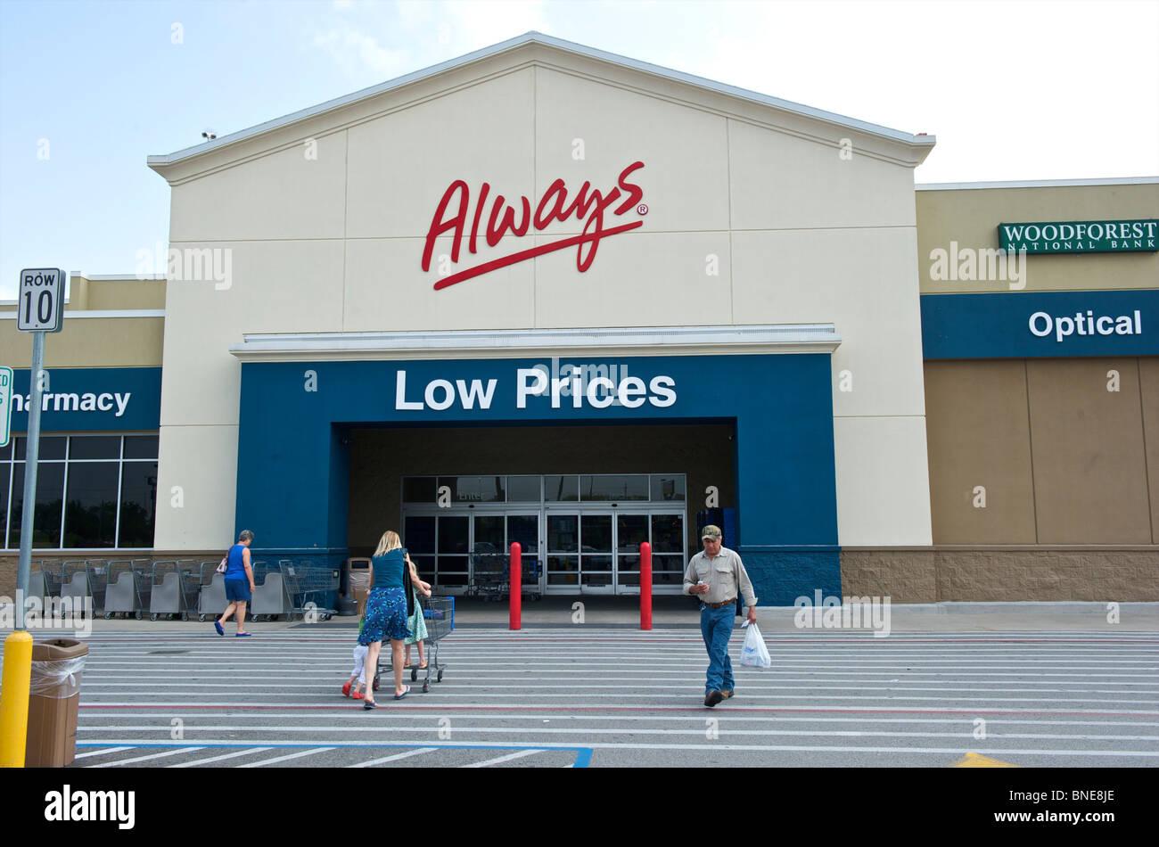 Wal-Mart Super center entrée, Houston, Texas, USA Banque D'Images
