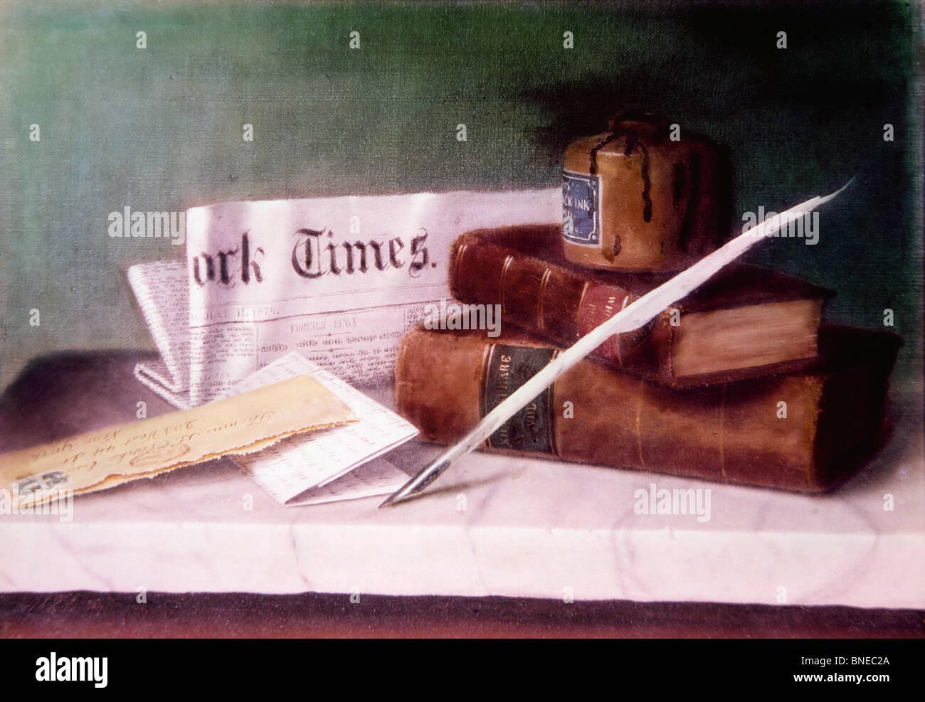 Nature morte avec lettre à M. Clark par William Michael Harnett, (1848-1892) Photo Stock